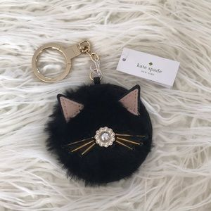 KATE SPADE Real Leather Cat Keychain with Dust Bag